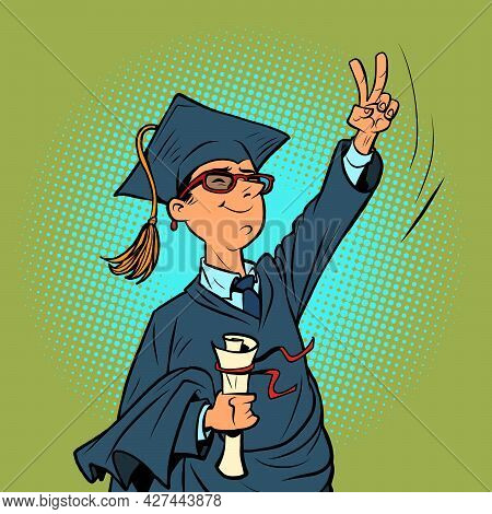 Male College Or University Graduate, A Winning Gesture. Knowledge And Science
