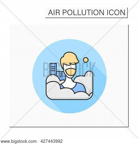 Smog Color Icon. Man In Face Respirator. Industrial Emissions, Air Pollution. Greenhouse Effect. Env