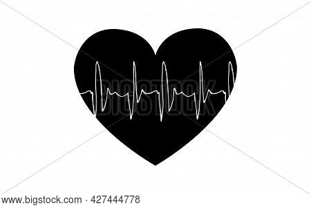 Biorhythms Of The Human Heart In The Form Of A Cardiogram. Ecg Line. Heart Signals. Vector Illustrat