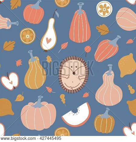 Autumn Seamless Pattern. Hygge Pumpkin, Fruits, Leaves And Pumpkins With Cute Hedgehog. Abstract Har