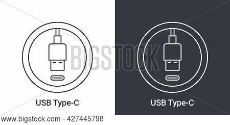 Usb Type C Port Icon. Socket Usb Plug In. Usb Connectors. Vector Illustration