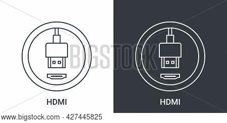 Hdmi Port Icon. Computer Connectors Signs. Connectors Icon. Vector Illustration