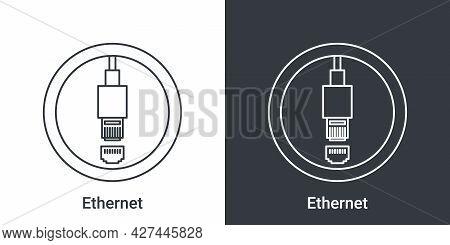 Ethernet Port Icon. Computer Connectors Signs. Connectors Icon. Vector Illustration