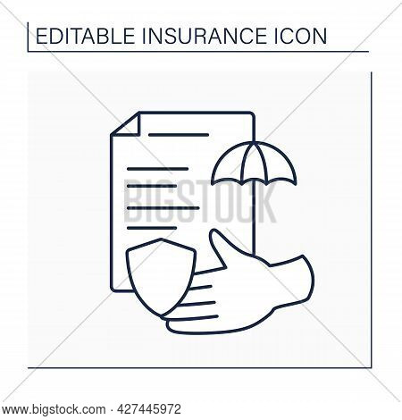 Cover Line Icon. Risk Coverage For An Individual By Way Of Insurance Services. Document. Insurance P