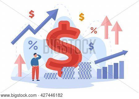 Tiny Cartoon Businessman Observing Increase Of Inflation. Flat Vector Illustration. Percentage, Arro
