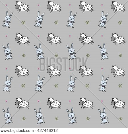 Bunnies And Lambs Pattern, Cute Animals Background