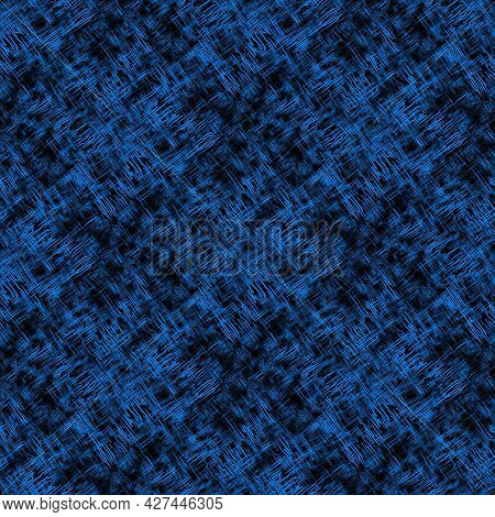 Seamless Abstract Pattern With Abstract Blue Chaotic Lines On Dark Background