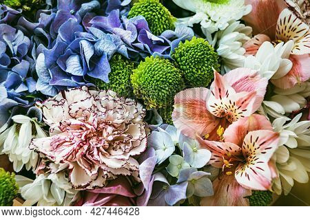 Floral Background. Festive Bouquet Of Assorted Flowers Including Blue Hydrangea, Pink Alstroemeria A