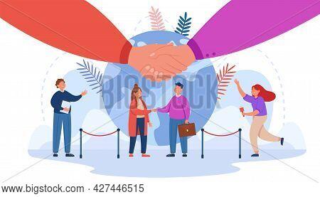 Tiny Cartoon Man And Woman Shaking Hands. Flat Vector Illustration. Representatives Of Embassies Mee