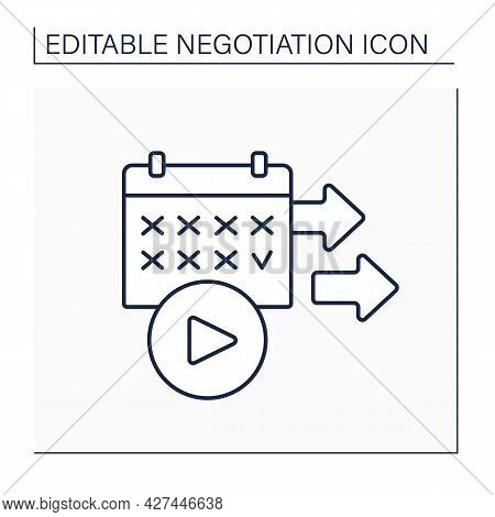 Starting Date Line Icon. Beginning. Commerce Deal. Date On Calendar. Negotiation Concept. Isolated V