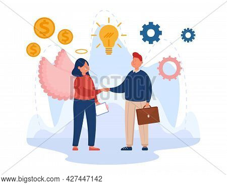 Man Making Successful Deal With Sponsor Flat Vector Illustration. Cartoon Businessman Getting Financ