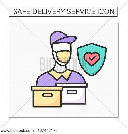 Deliverymancolor Icon. Postman Or Delivery Service Courier In Face Protection Mask Delivering Order.