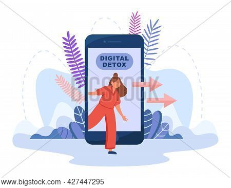 Young Female Person Stepping Out Of Smartphone Screen. Cartoon Character Limit Online Time Flat Vect