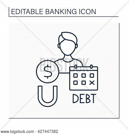 Debt Collector Line Icon. Agency Recovering Money Owed On Delinquent Accounts.banking Functions Conc