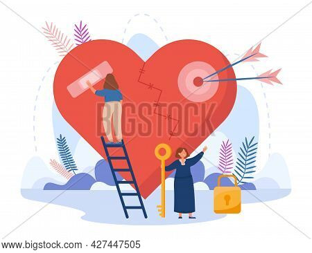 Tiny Girl Standing On Stairs And Taping Broken Heart. Female Cartoon Character Holding Key To Lock F