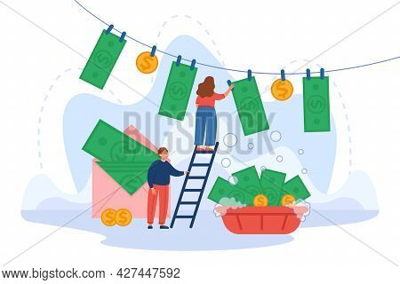 Cartoon Characters Washing And Hanging Banknotes On Rope. Huge Envelope With Money Flat Vector Illus