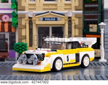 Tambov, Russian Federation - July 02, 2021 Lego 1985 Audi Sport Quattro S1 Car By Lego Speed Champio