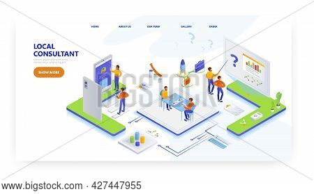 Local Consultant Landing Page Design, Website Banner Vector Template. Consulting Business.