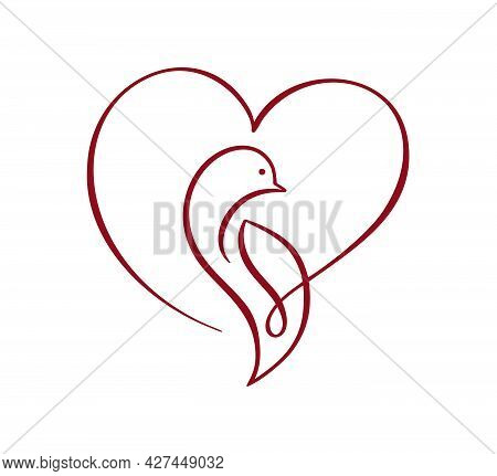 Vector Love Dove With Heart Logo Design Template Icon. Pigeon Carrying Heart In Doodle Style. Line A
