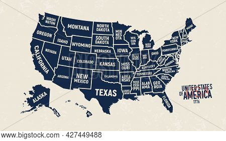 United States Map. Vintage Usa Map With State Names. Poster Of Us Map With Grunge Texture And Emblem