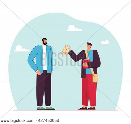 Young Man Handing Letter To Man Flat Vector Illustration. Student Or Promoter With Bag Handing Envel