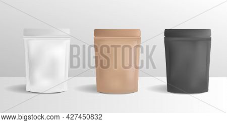 Vector Zip Paper Package Set. Blank Pouches, Paper Box, Package Mockup Isolated On White Background.