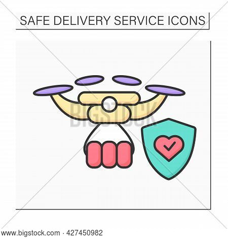 Drone Delivery Color Icon. Safe Order Delivery By Remote Piloted Drone With Stop Covid. Concept Of N