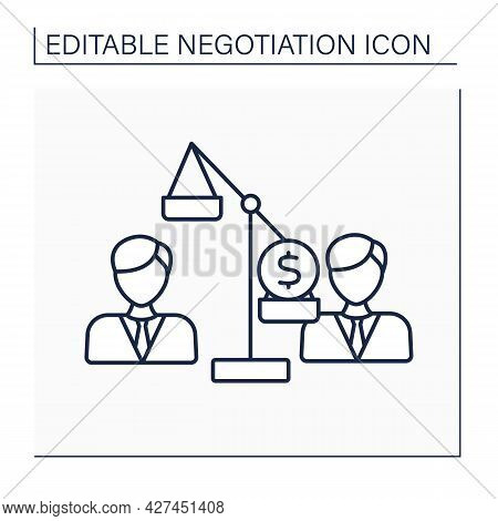 Zero-sum Line Icon.superiority Of One Person Over Another. One Side Gains.negotiation Concept. Isola