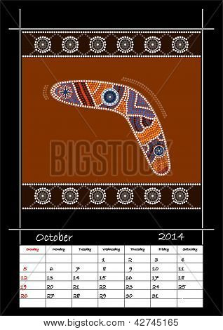 A Calender Based On Aboriginal Style Of Dot Painting Depicting Boomerang