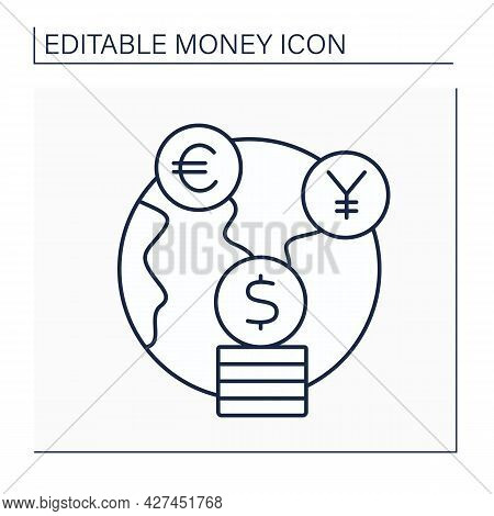 Foreign Exchange Line Icon. Global Market For Exchanging National Currencies With One Another. Money