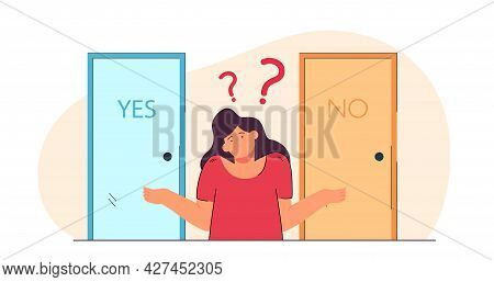 Woman Doubting Her Choice Flat Vector Illustration. Girl Choosing Between Yes And No, Looking For Ri