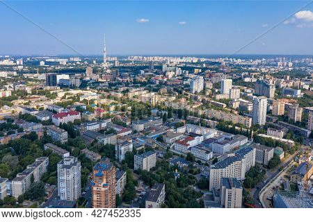 Aerial Photography Of Residential Quarters Of Kyiv Overlooking Residential Areas With Many Green Par