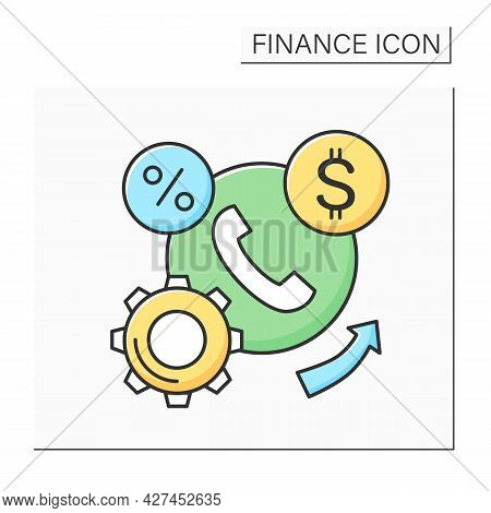 Financial Services Color Icon. Business Infrastructure And Process. Concept Of B2b And Bank Loans.pr