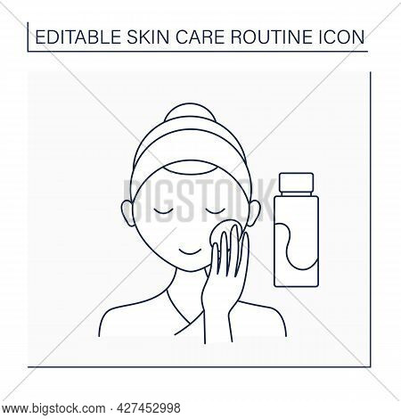 Cosmetology Line Icon. Face Toner. Cleaning Face From Oil And Stubborn Dirt.beauty Procedure.skin Ca