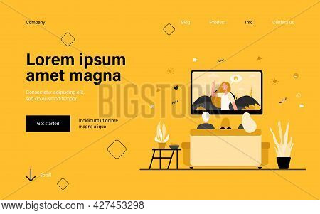 Back View Of Family Sitting On Sofa And Watching Tv Isolated Flat Vector Illustration. Cartoon Chara