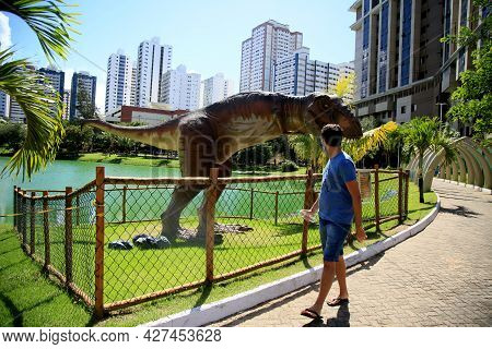 Dinosaur Sculpture In Park