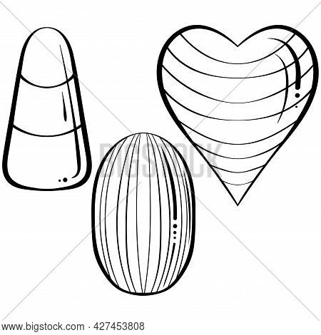Caramel Candies Of Different Shapes. Hand Drawn Vector Illustration In Sketch Style Isolated On Whit