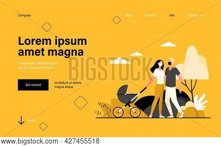 Family With Baby In Pram Wearing Masks. Kid, Buggy, Park Flat Vector Illustration. Pandemic And Prot