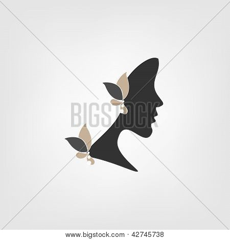 Profile of woman with stylized flowers