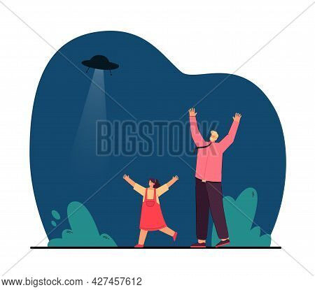 Girl And Man Rejoicing While Seeing Flying Saucer. Flat Vector Illustration. Father And Daughter Run