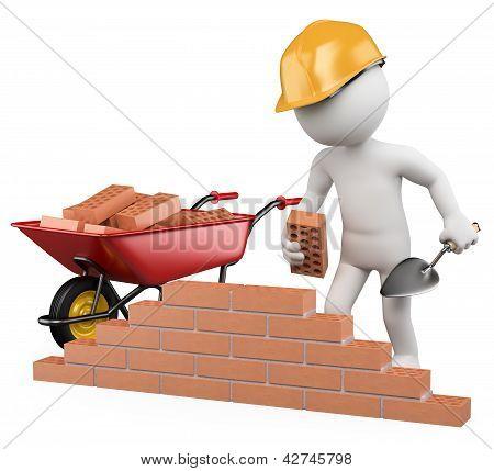 3D gente blanca. Obrero de la construcción
