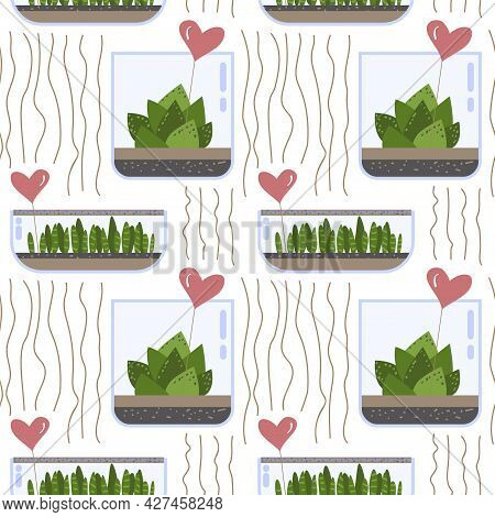 Seamless Pattern With Cactus And Succulent In Glass Terrarium With Gift Heart Notes On Bottle. Exoti