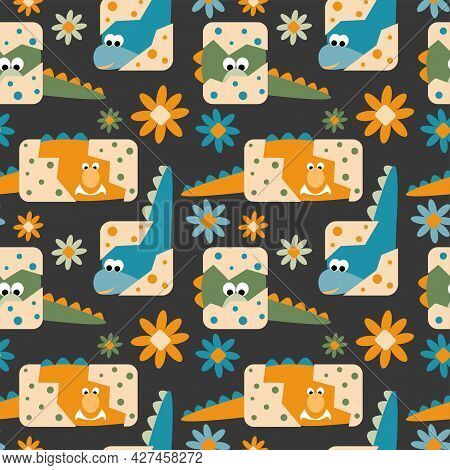 Seamless Pattern With A Cute Little Dino Hatching From The Eggs With Polka Dot Eggshell And Flowers,