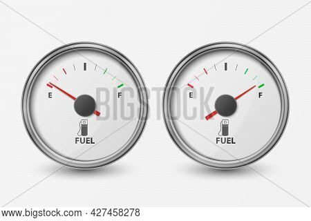 Vector 3d Realistic Silver Circle Gas Fuel Gauge, Oil Level Bar Icon Set Isolated On White Backgroun
