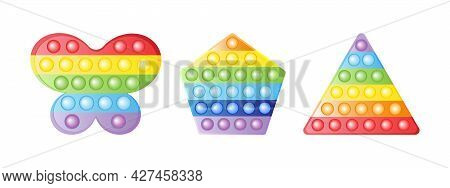 Set Antistress Trendy Toys Fidget Sensory Pop It And Simple Dimple, Triangle Shape. Colorful Silicon