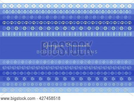 Georgian Borders And Patterns In Blue. Hand-drawn Vector Line Border Set Design Element. Floral Vint