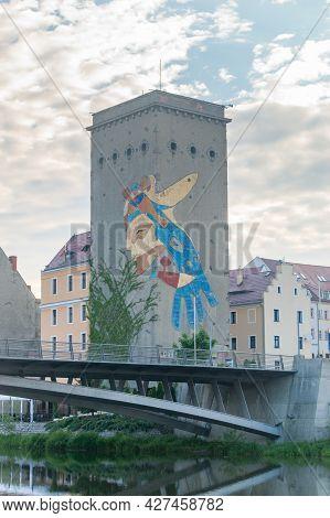 Gorlitz, Germany - June 2, 2021: Mill With Waze (wizerunek Artystyczny Zjednoczonej Europy) Art,  Ar