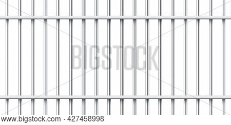 Realistic Metal Prison Bars Isolated On White Background. Detailed Jail Cage, Prison Iron Fence. Cri