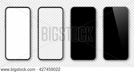 Realistic Smartphone With Blank Touch Screen On Checkered Background. Frameless Mobile Phone In Fron