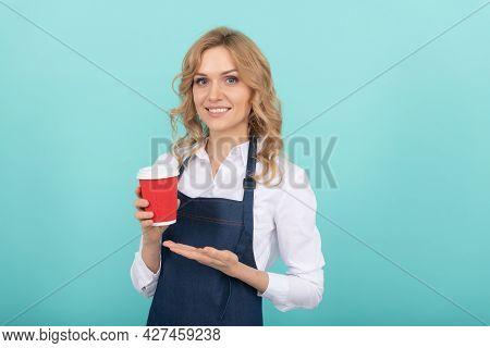 Happy Woman Barista In Cook Apron Drink Takeaway Coffee, Barista